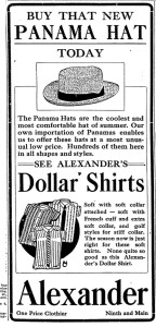 Advertisement for Panama Hats from the Idaho Statesman circa May 1913