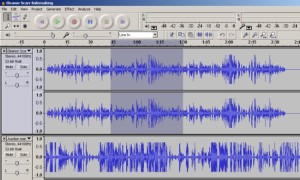 A screen shot from the Audacity program, which SHRA used to convert .wav files to .mp3 files when collecting interviews.  Image credit.