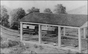 A Sec4onal Canal Boat in the Hitching Shed, by George Storm, date unknown, via nps.gov (Allegheny Portage Railroad)