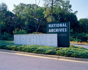 Entrance to the National Archives in College Park, MD (source).