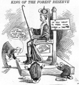 Forest Service Chief Gifford Pinchot was often the target of editorial cartoonists' wrath. http://fhsarchives.wordpress.com/2011/05/03/how-counting-sheep-saved-the-u-s-forest-service/