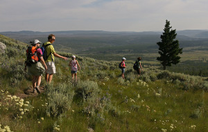 A family hike in Yellowstone National Park. From here.