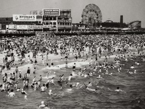 New Yorkers enjoying summer on Coney Island circa 1940's. From here.
