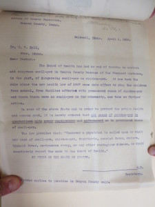 A 1908 letter from the Canyon County Physician instructing a doctor to quarantine all cases of chicken pox and small pox.