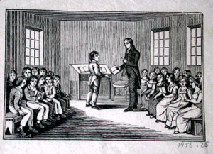 Woodcut of 19th century American classroom. From here.
