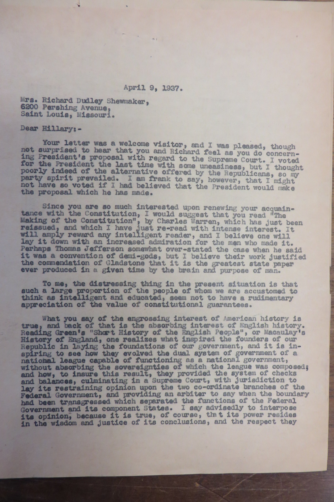 12 8 14 fdr s court packing plan shra letter from major richard burges from the dolph briscoe center for american history at the university