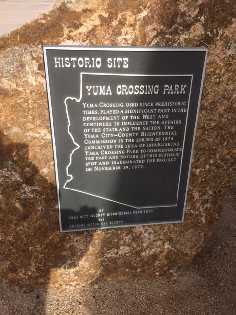 Plaque at the Yuma Quartermaster's Depot State Historic Park