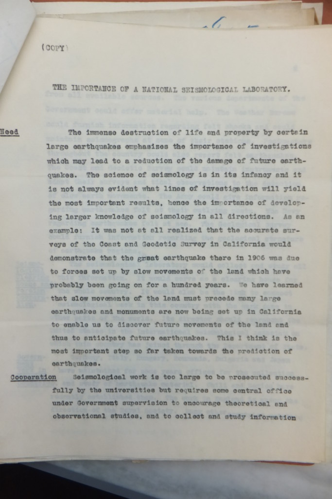 """The Importance of a National Seismological Laboratory,"" Harry Fielding Reid."
