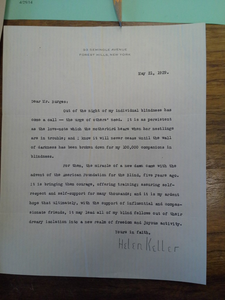 Letter signed by Helen Keller, found at The University of Texas at Austin Briscoe Center for American History